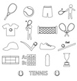 tennis sport theme black outline icons set eps10 vector image
