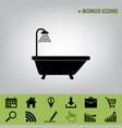 bathtub sign  black icon at gray vector image