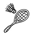 cartoon image of badminton icon sport symbol vector image