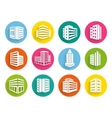 Set of buildings icons on colorful web buttons vector image