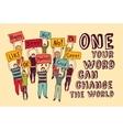 Democracy voting change world people meeting vector image