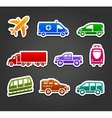 Set of stickers transport color icons vector image