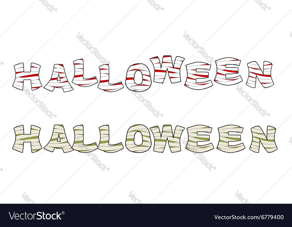 Halloween mummy text letters wrapped medical vector