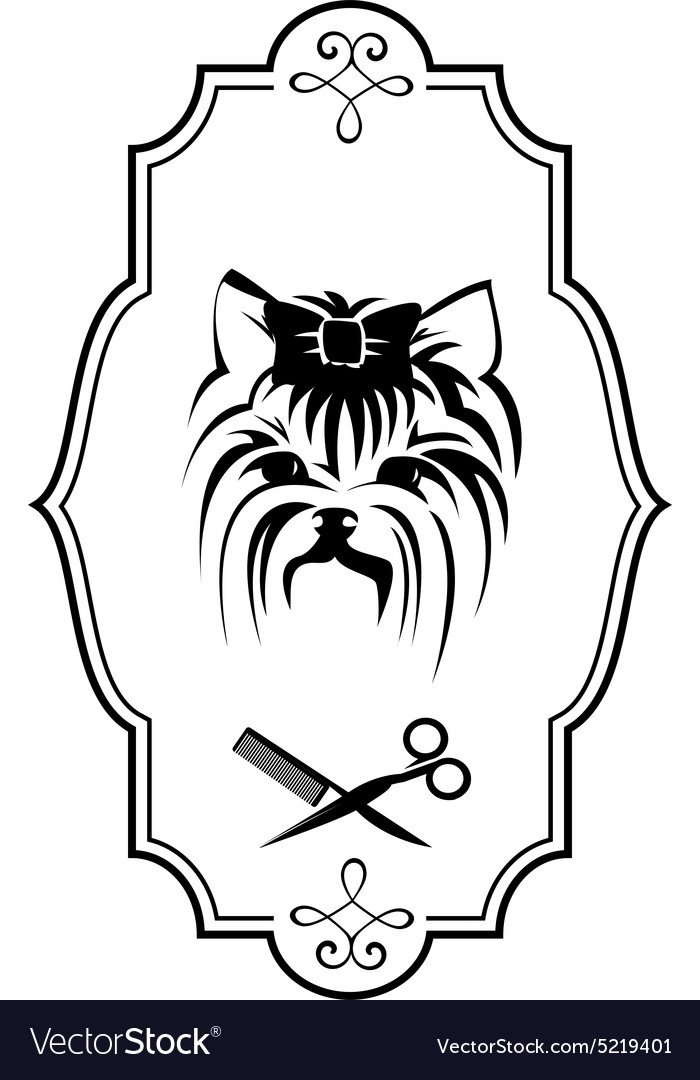 Pet grooming logo with yorkshire terrier dog vector