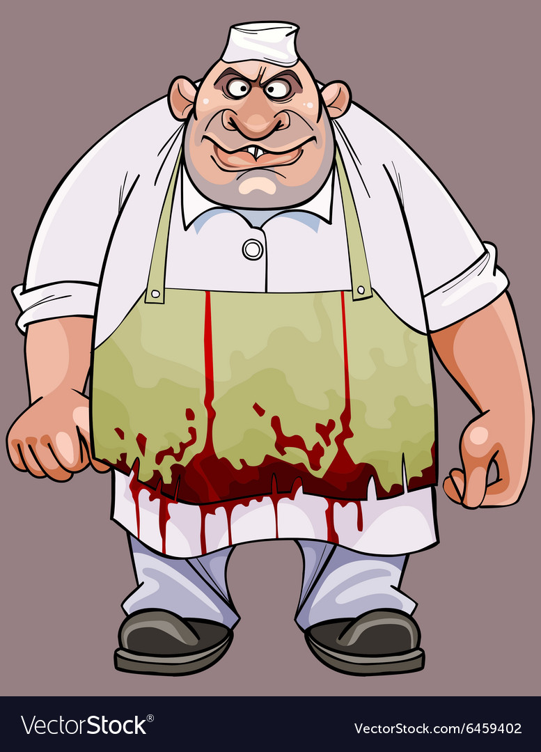 Cartoon big fat man in a bloodstained apron vector