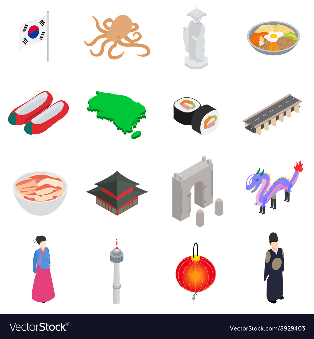 South korea icons set isometric 3d style vector