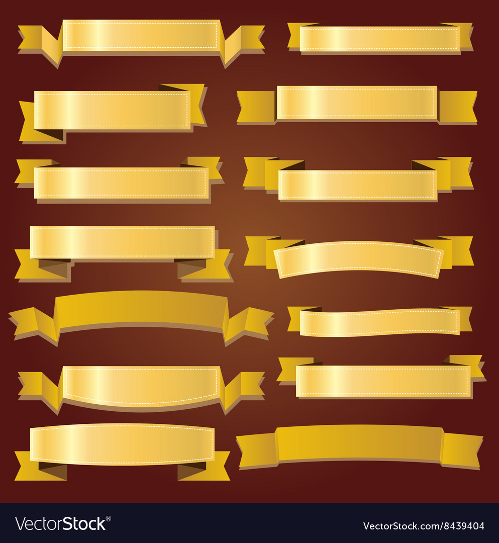 Cute gold ribbons and banners vector