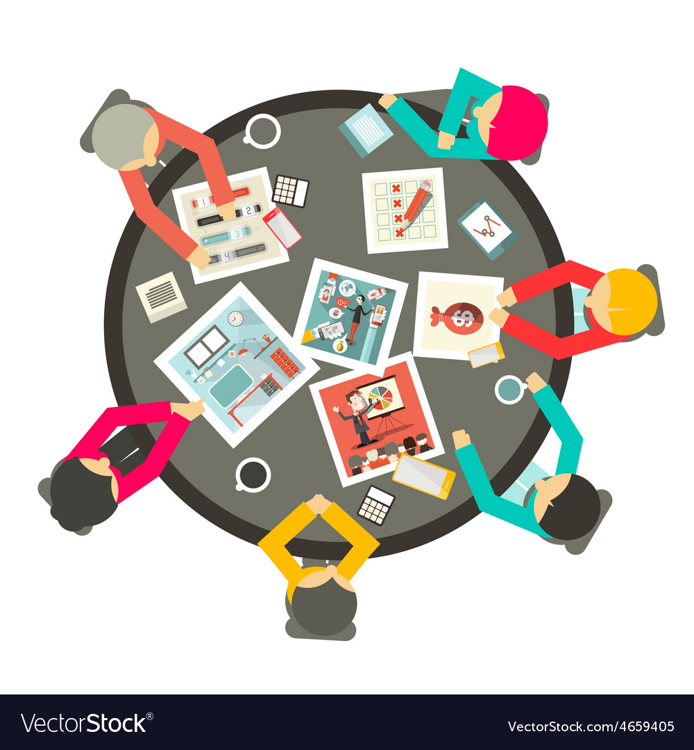 People around the circle table business meeting vector