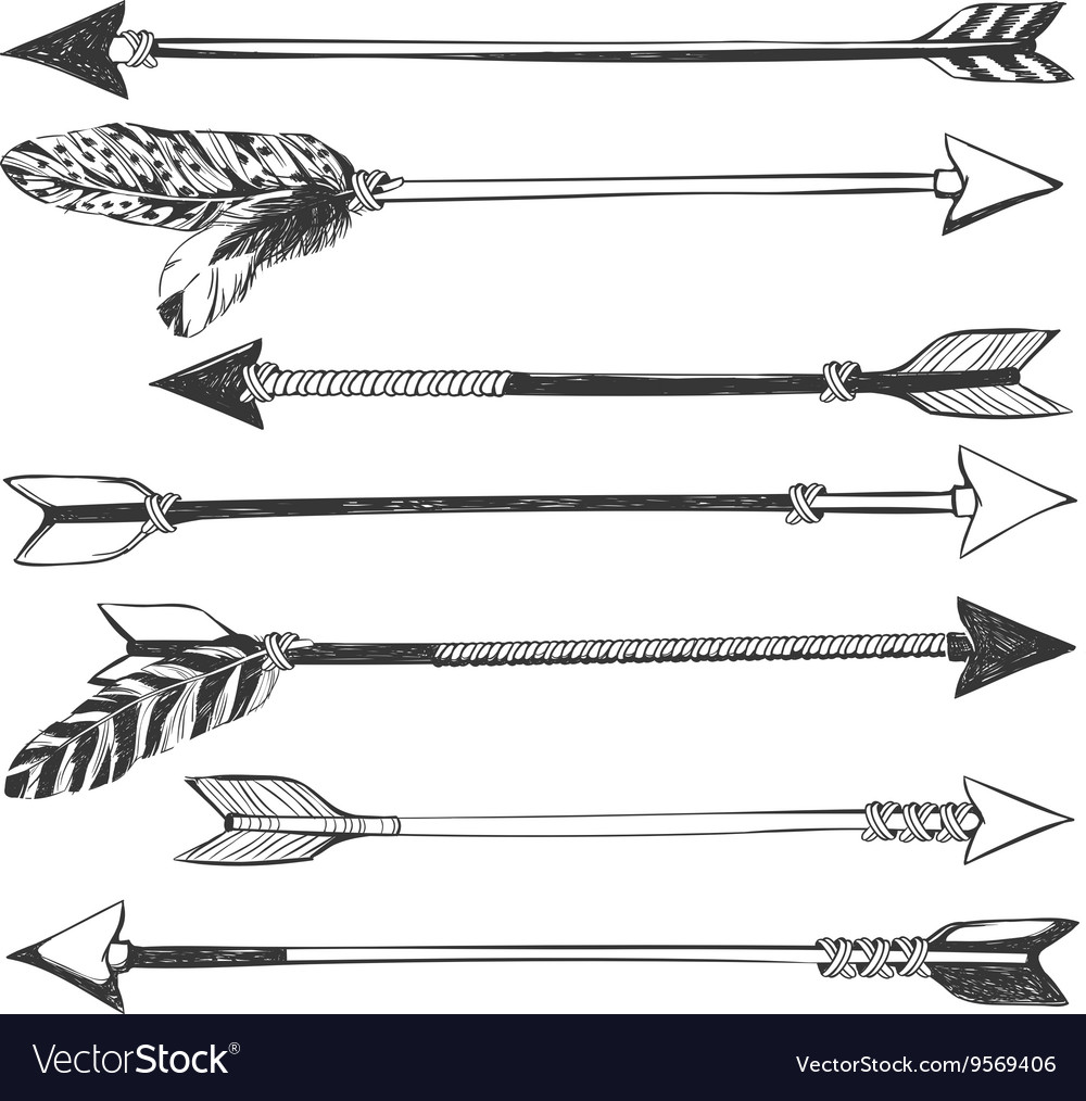 Arrow set in native american indian style vector
