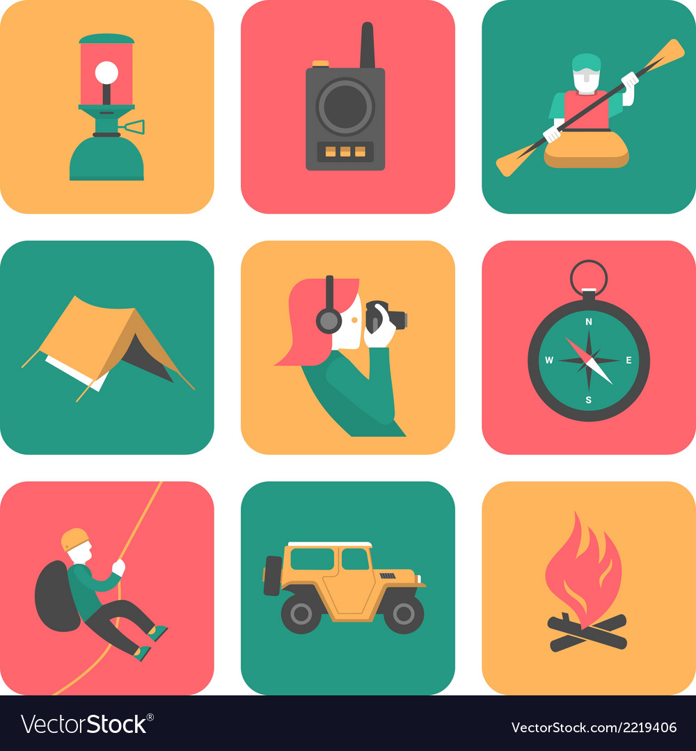 Flat icons of travel and adventure vector
