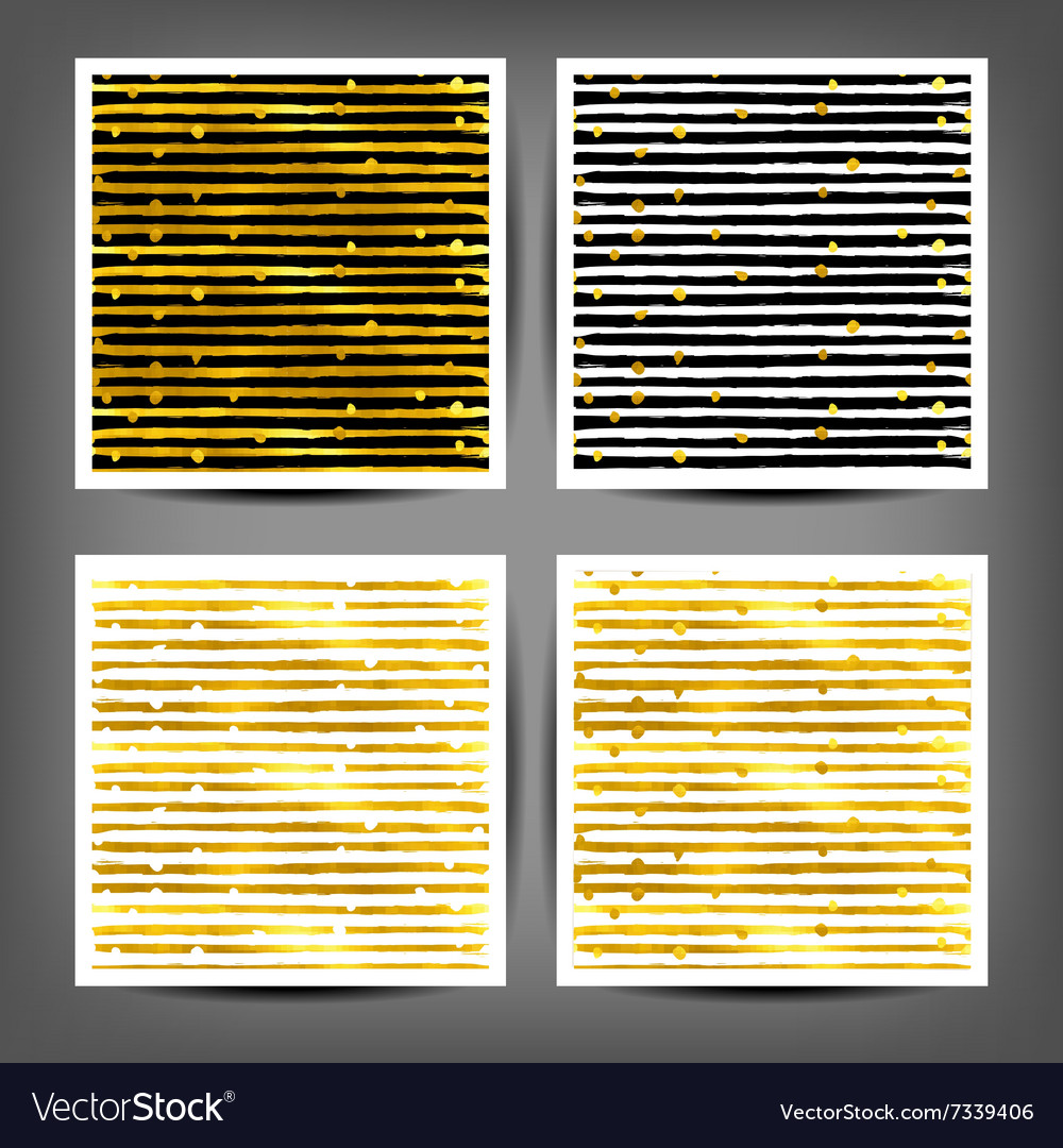 Set of seamless painted gold strips vector