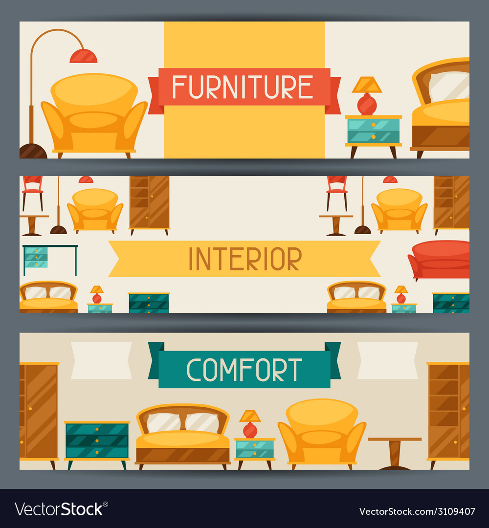 Interior horizontal banners with furniture in vector