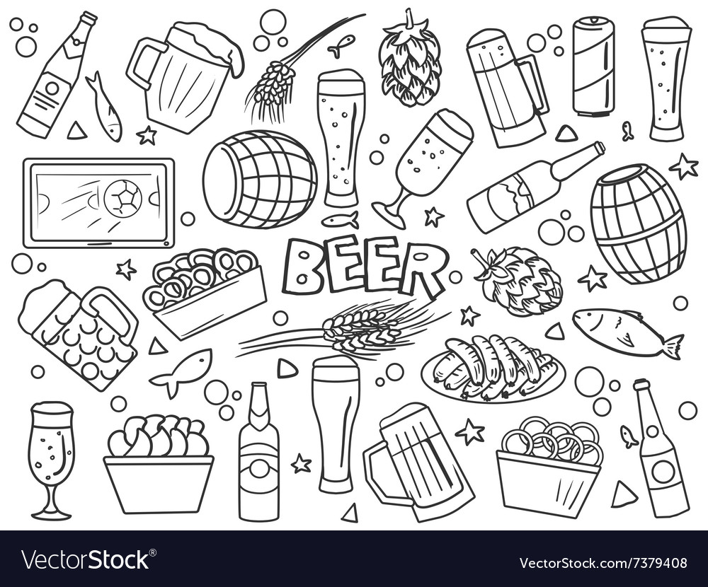 Beer elements line art style vector