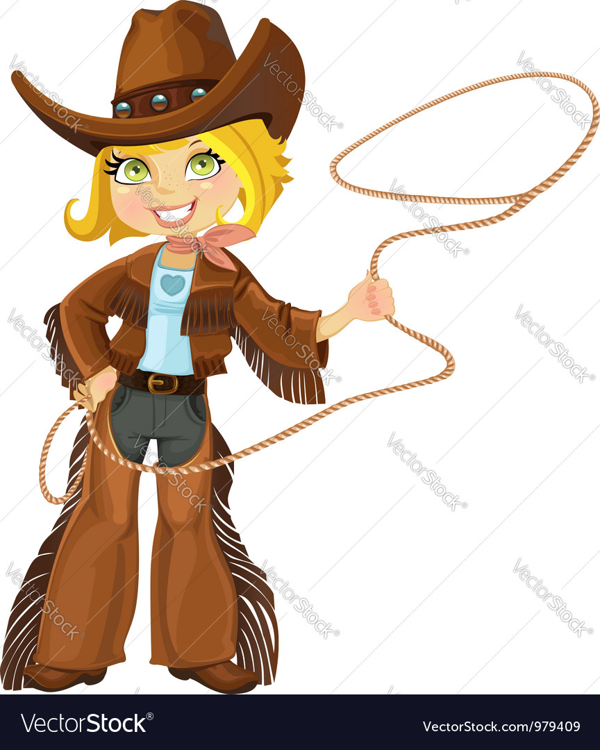 Blond cowgirl with lasso vector