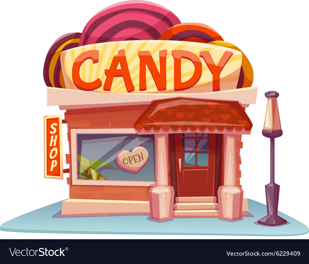 Candy shop building with bright banner vector