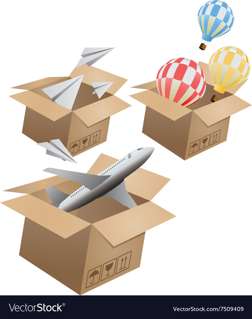 Set of flying object in carton box02 vector