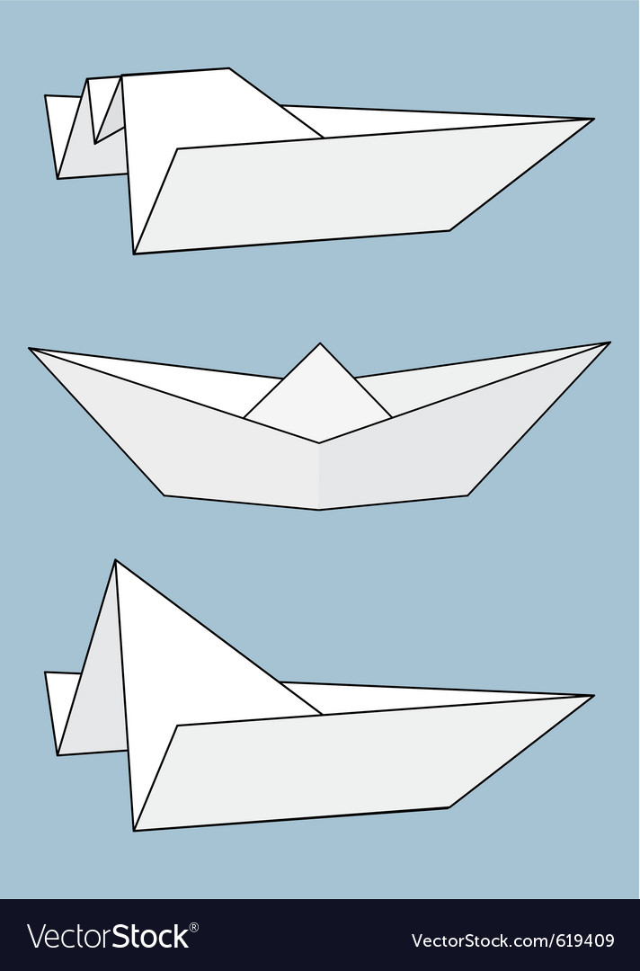 Set of paper boats origami vector