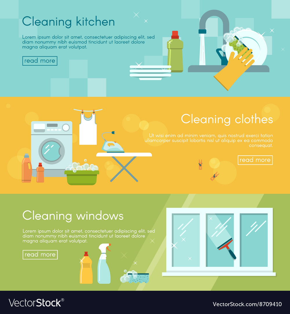 Cleaning horizontal banner set vector