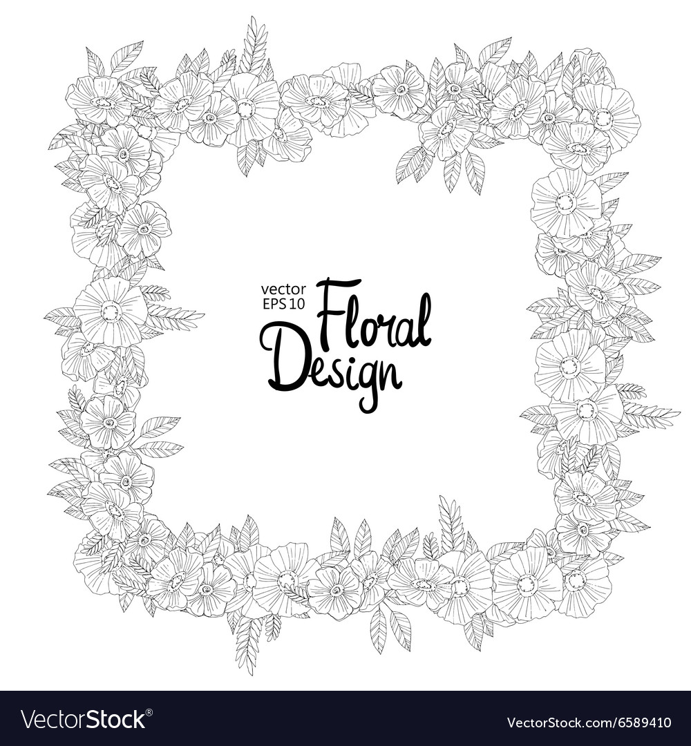 Floral border made with sketchy flowers vector