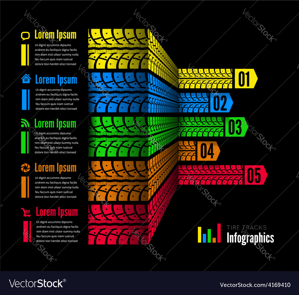 Tire tracks infographics background vector