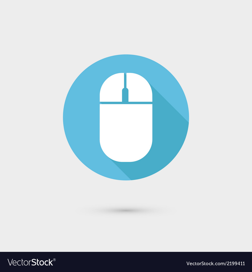 Computer mouse icon flat design long shadow vector