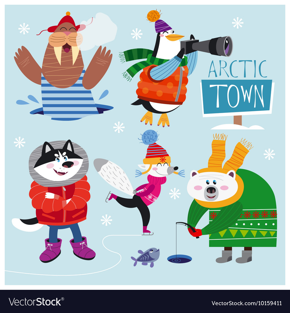 Cute set of arctic animals vector