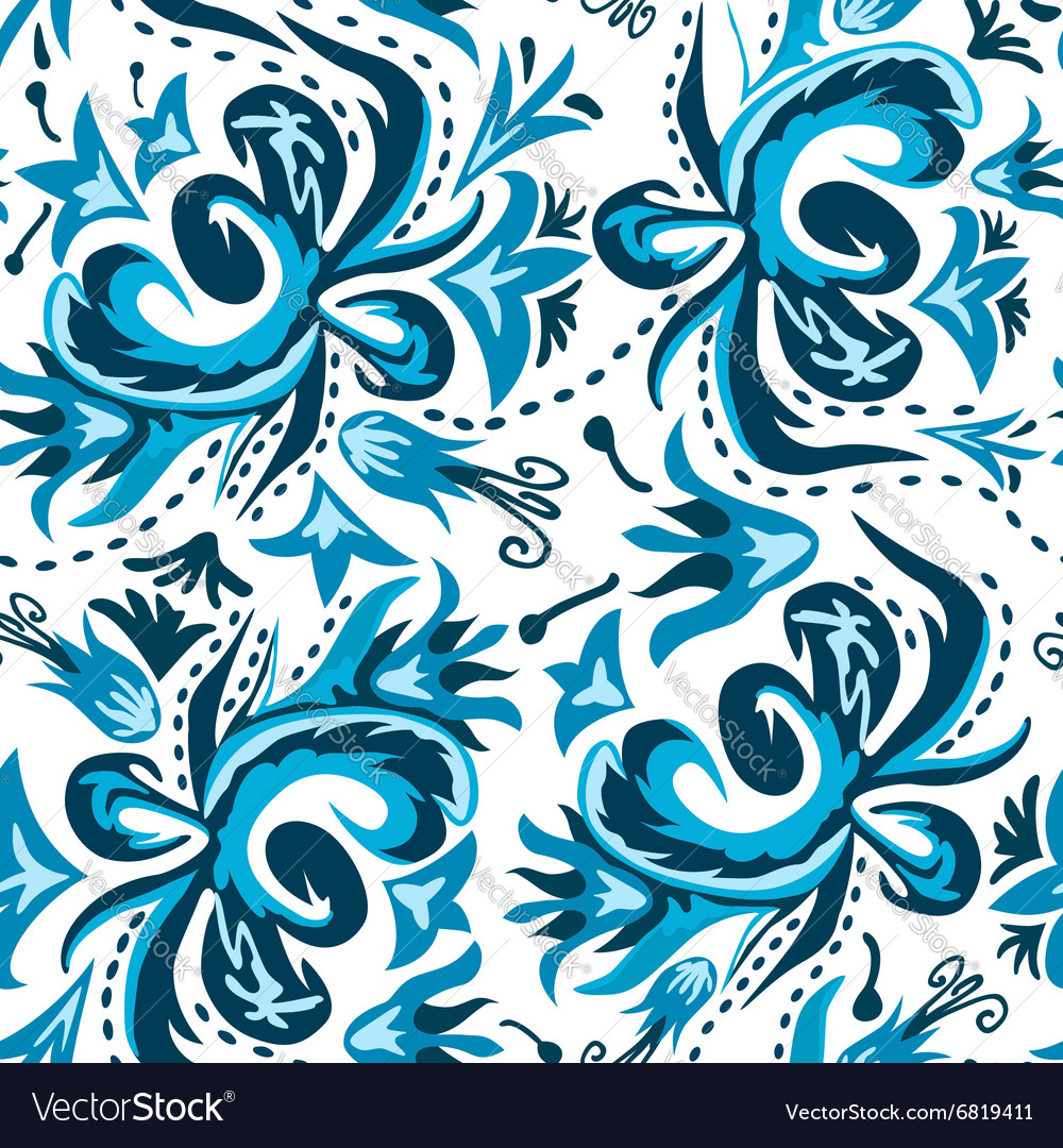 Eamless pattern in gzhel style vector