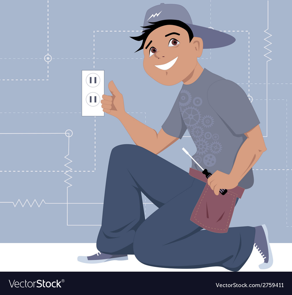 Electrician installing a wall socket vector