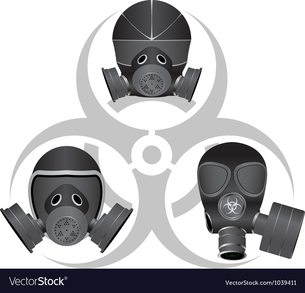 Gas masks and biohazard sign vector