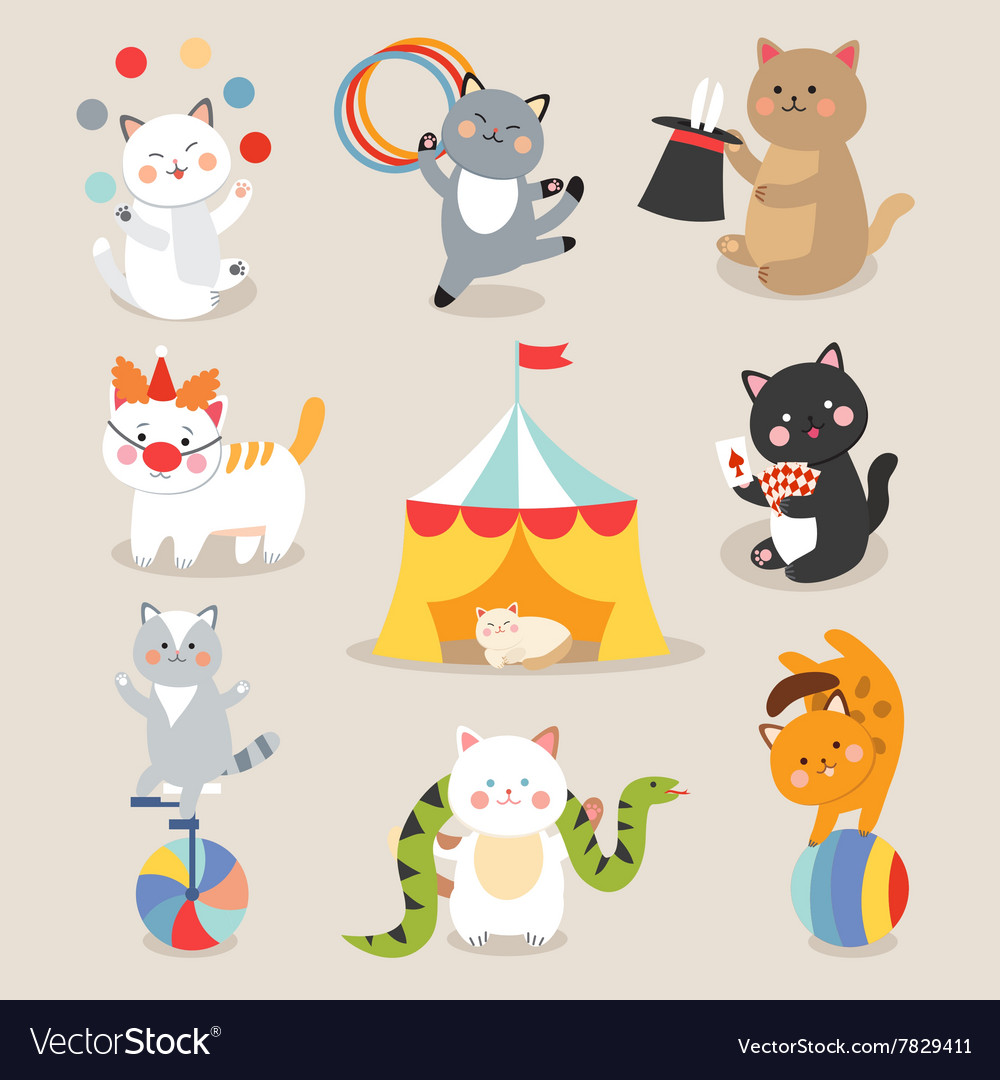 Set of cheerful circus playing cats vector