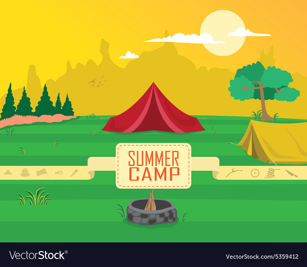 Summer camp clipart vector