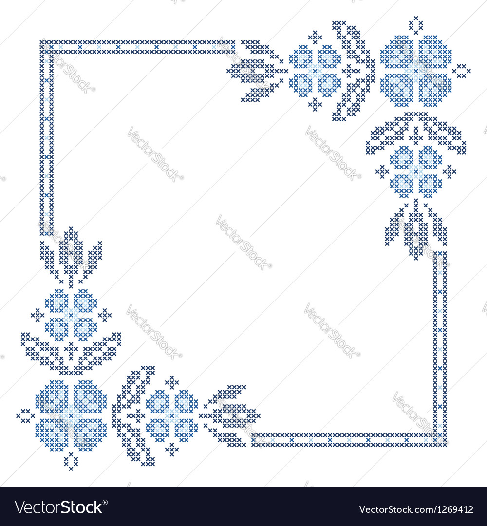 Traditional ukrainian crossstitch embroidery vector
