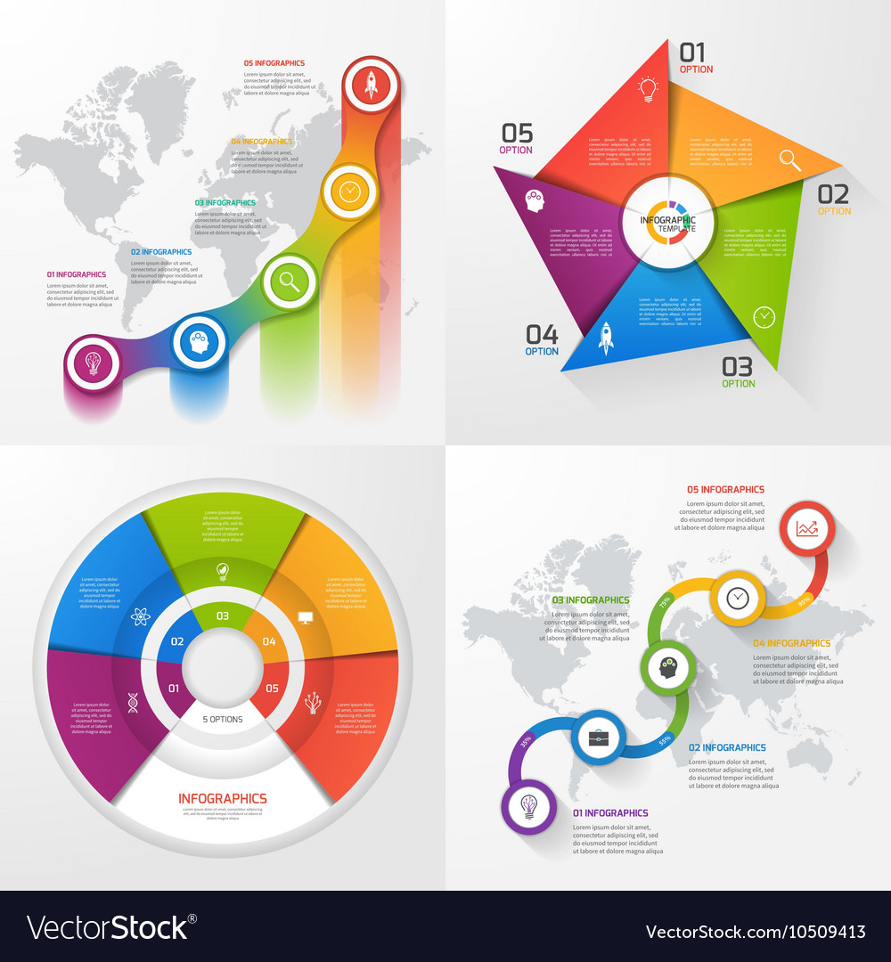 Set of 4 infographic templates with 5 options vector