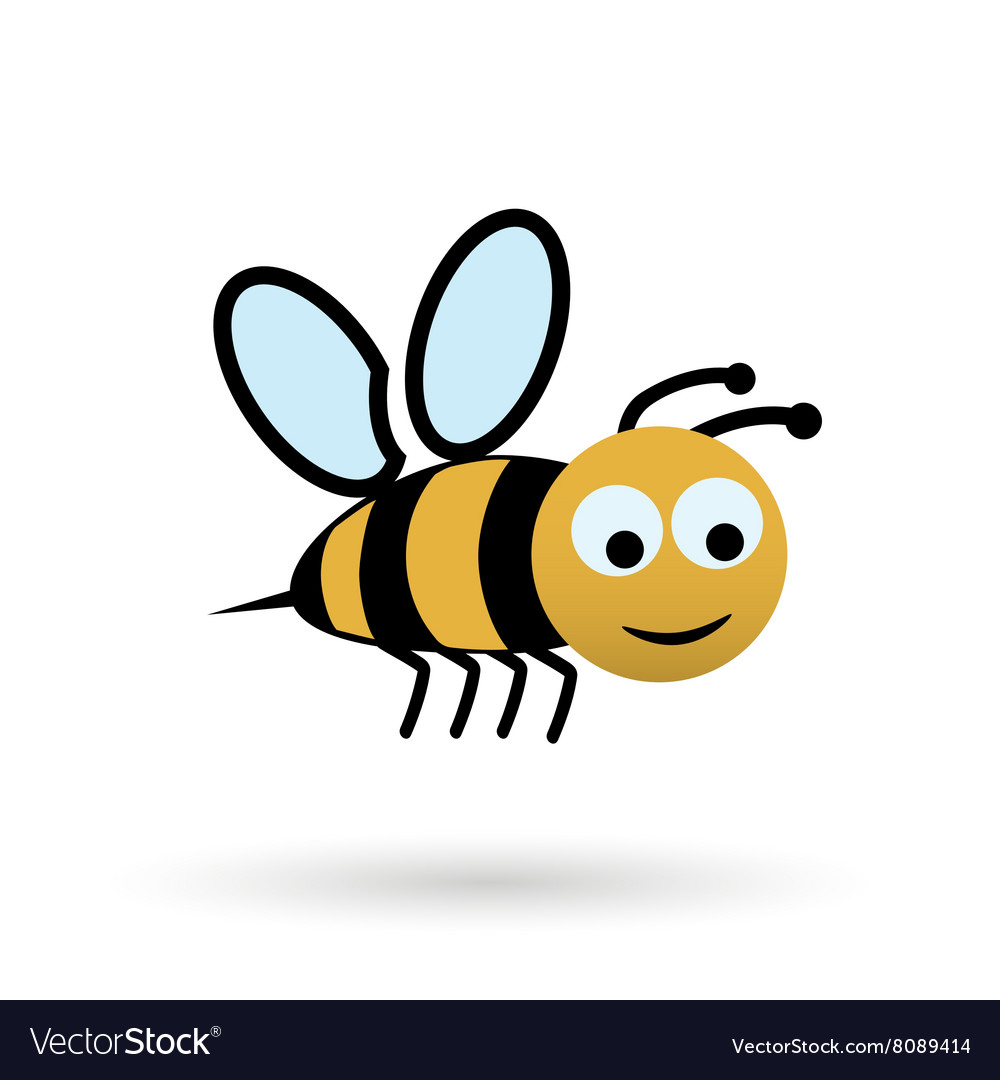 Colorful happy bee character simple icon eps10 vector