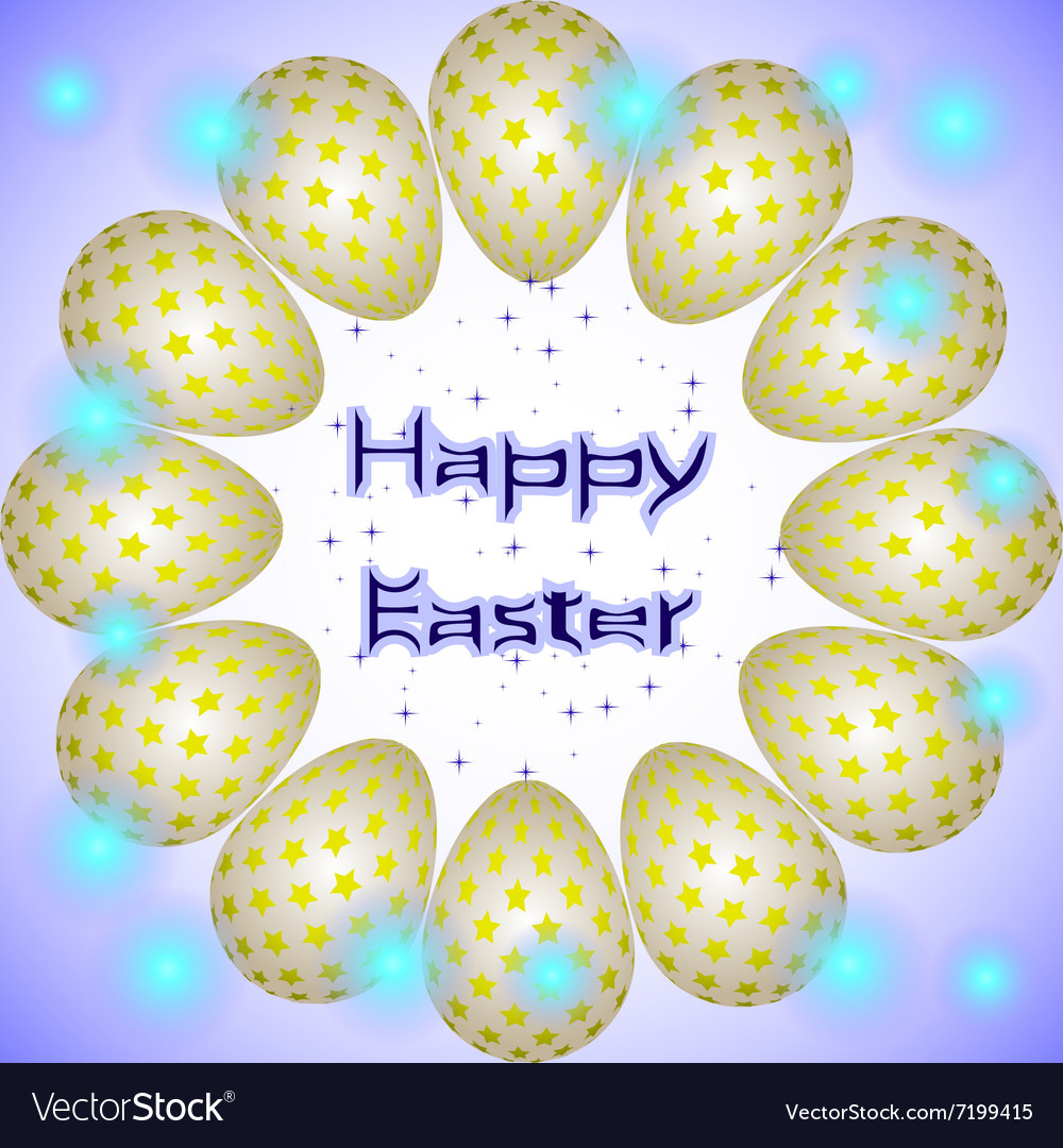 Easter eggs circle yellow stars vector
