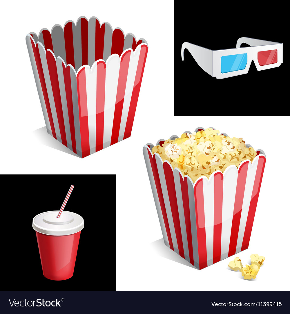 Popcorn box cola and 3d glasses icon vector