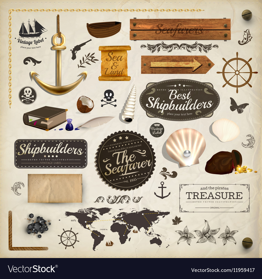 Sea and ship icon set vector