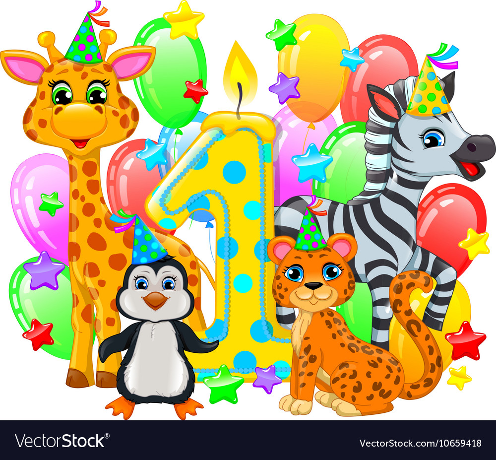 First birthday composition cute animals vector