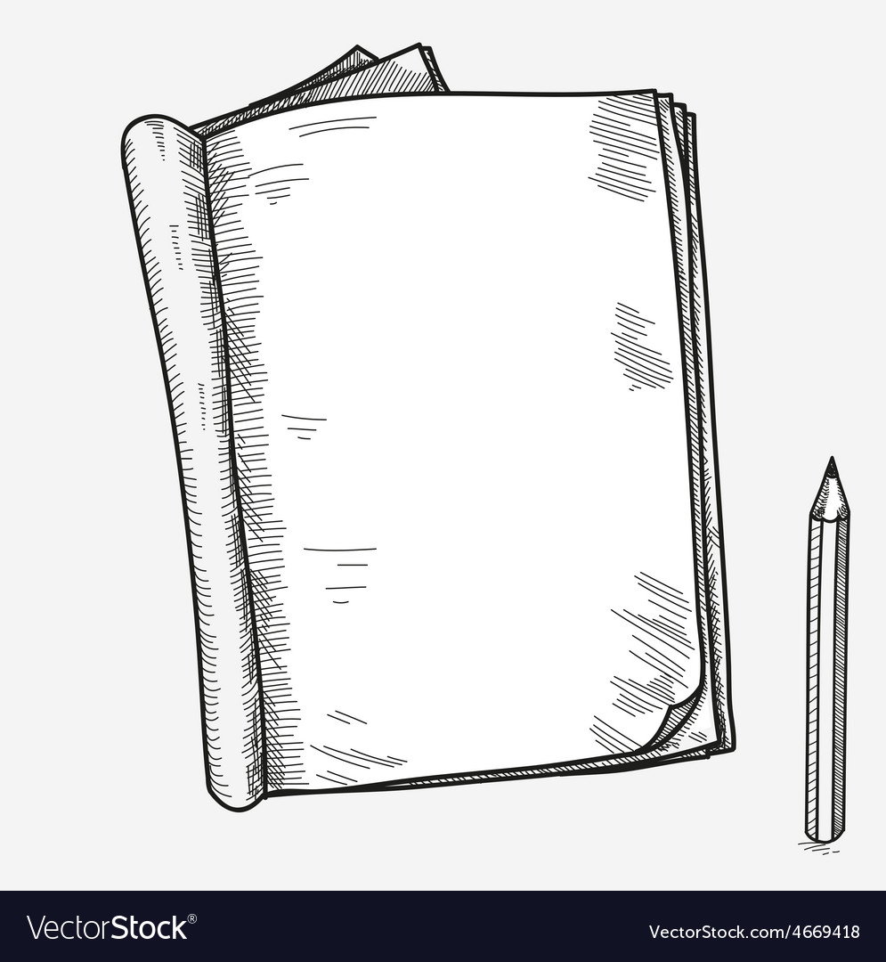 Hand drawn doodle sketch open notebook clear page vector
