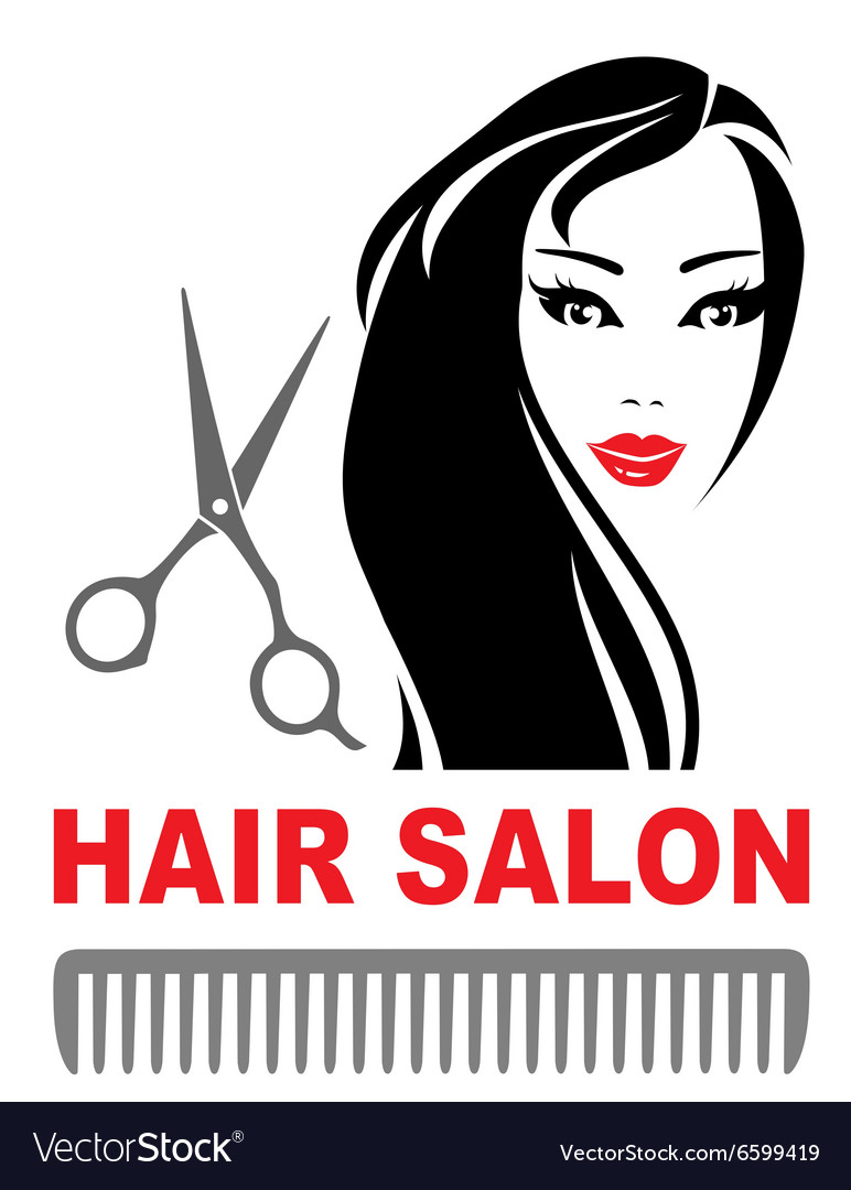 Hair salon icon with girl and scissors vector