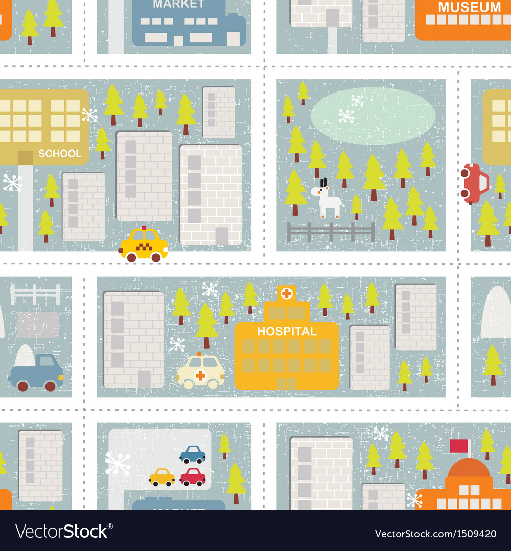 Cartoon map seamless pattern of winter city vector