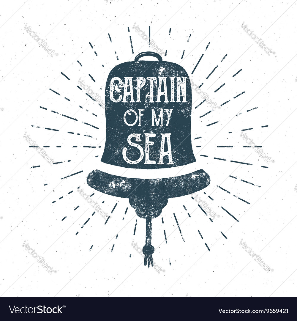 Retro ship bell tee design vintage sea label vector