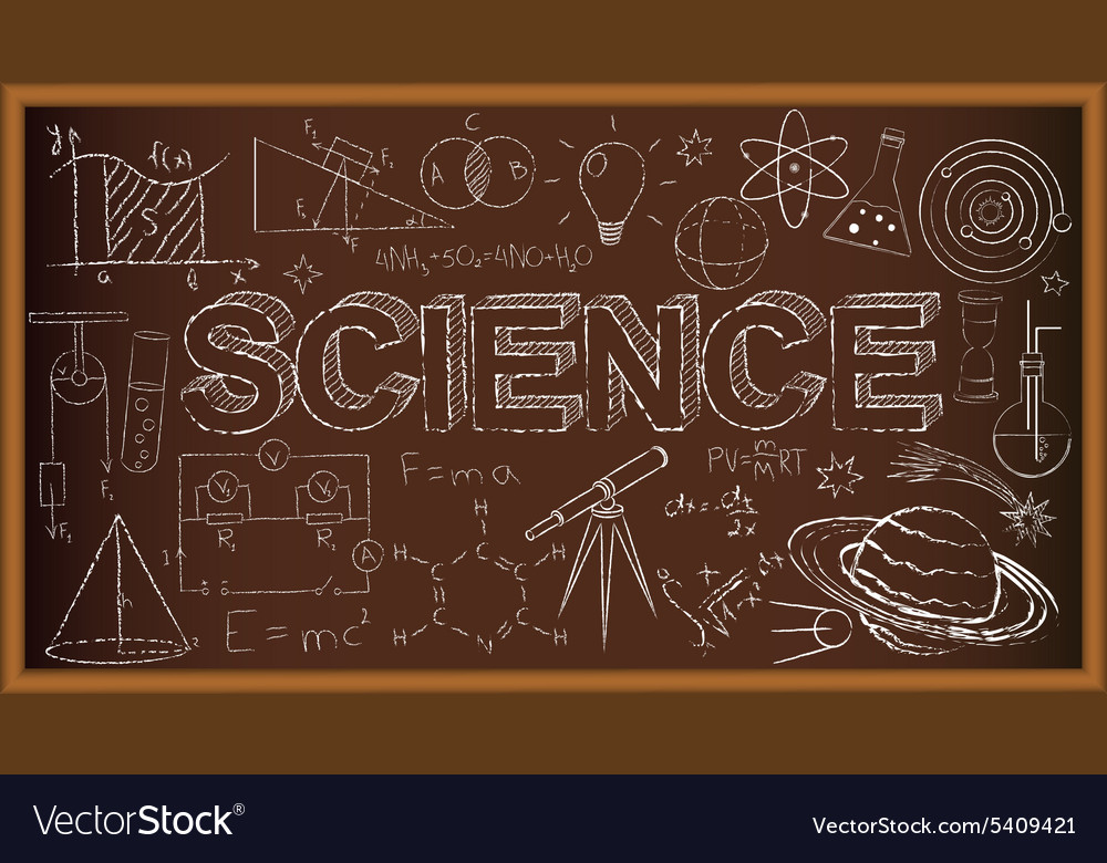 School board doodle with science symbols vector