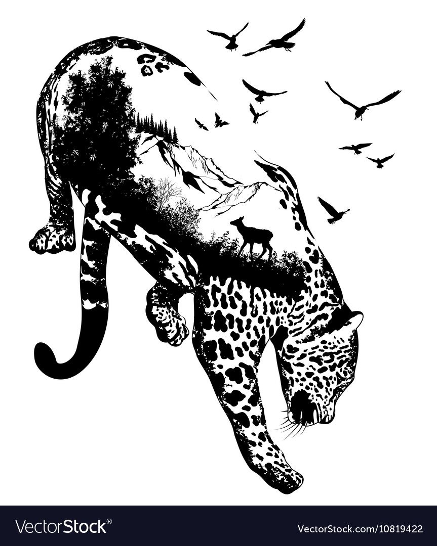 Double exposure hand drawn leopard vector