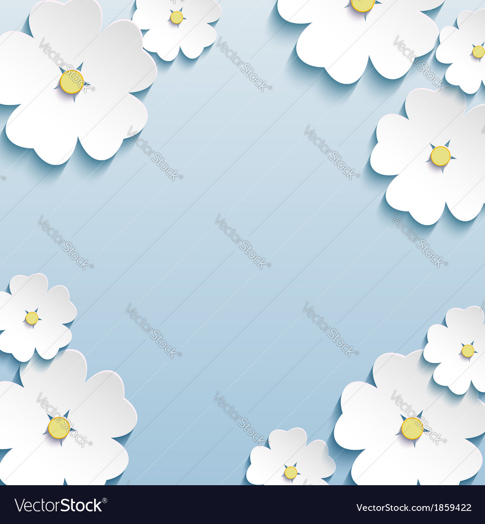 Floral abstract background 3d flowers cherry tree vector