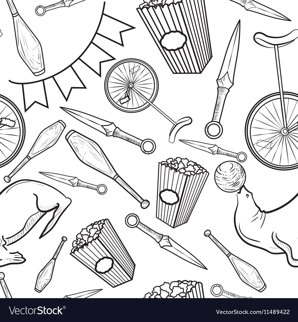 Sketch circus seamless pattern vector