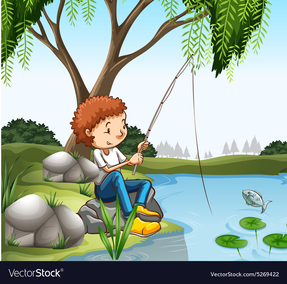 Young boy fishing in pond vector