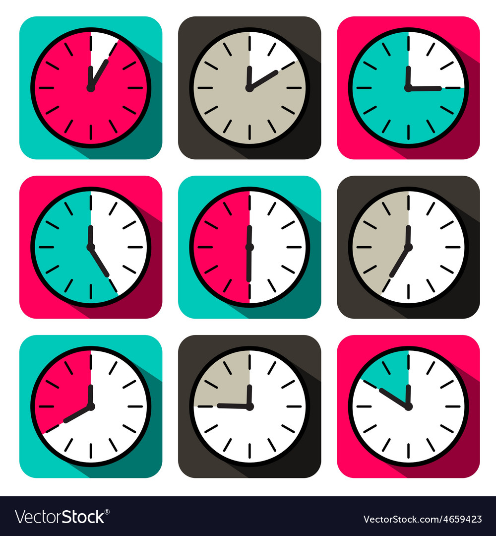 Retro flat design clock set vector