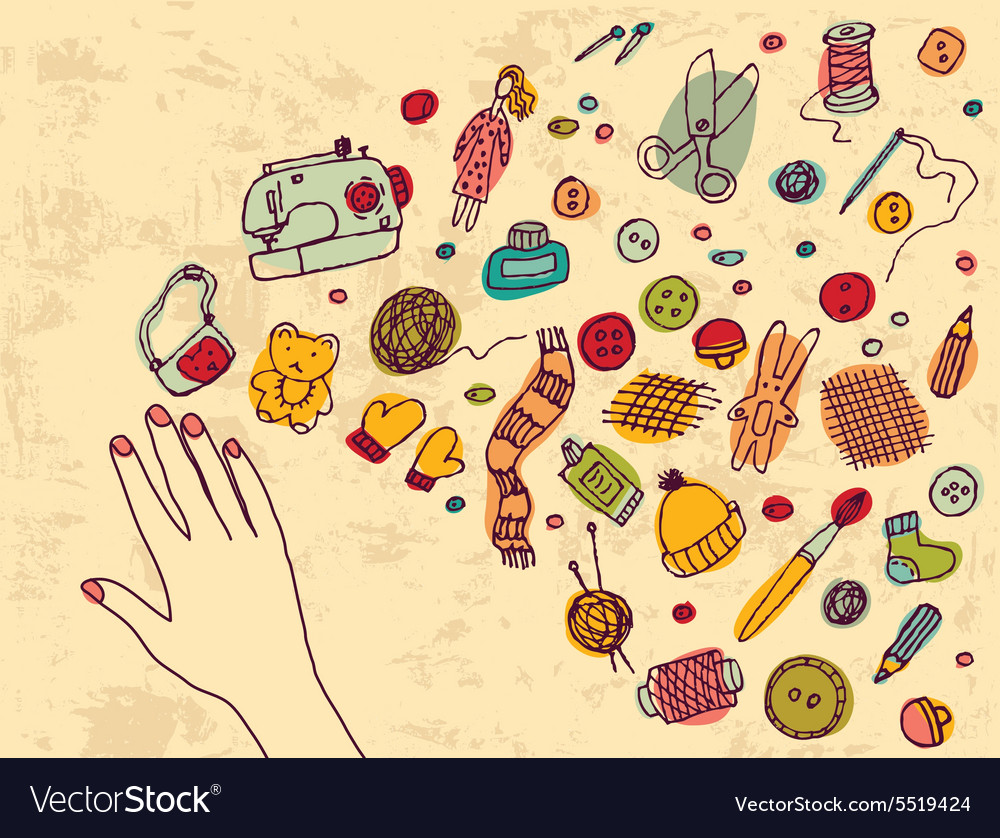 Hand with handmade inspiration and objects vector