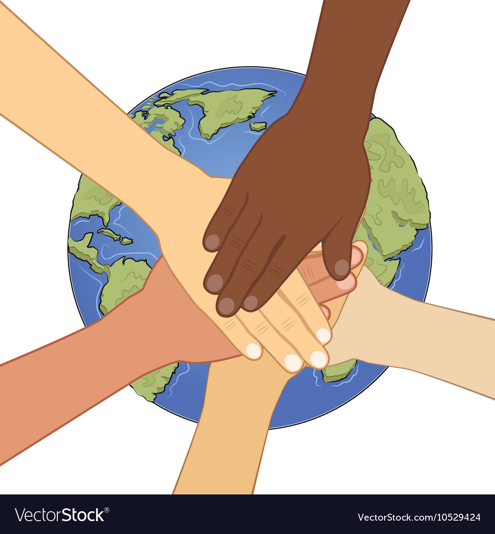 Human hands together over earth vector